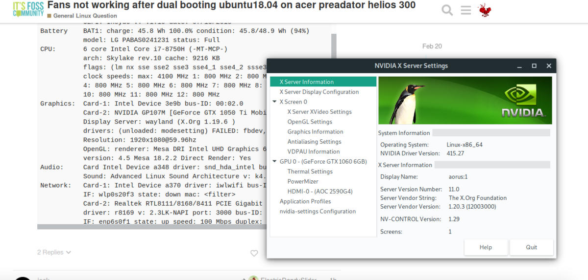 Fans not working after dual booting ubuntu18 04 on acer preadator