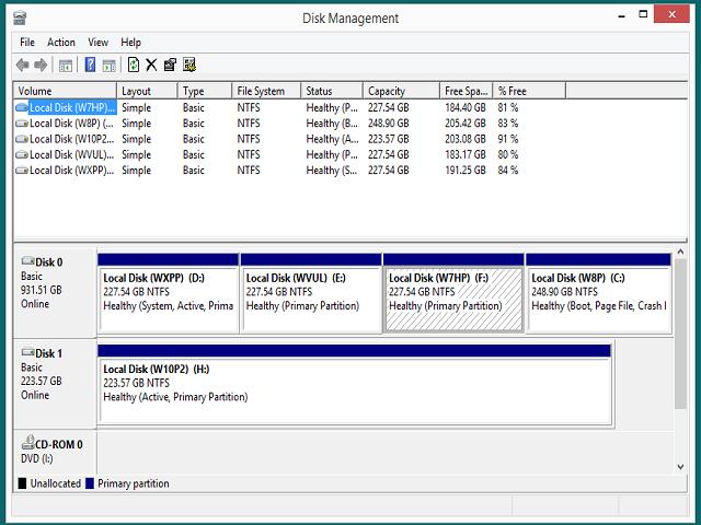 W8 Disk Management