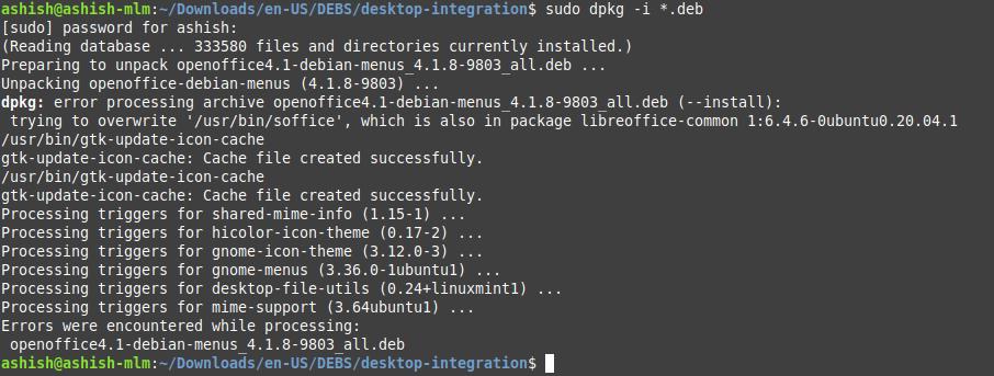 desktop integration error