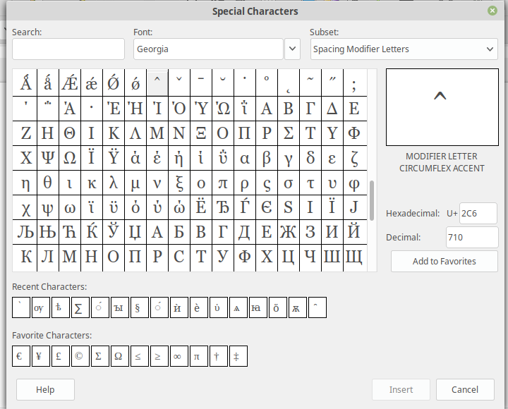 LibreOffice: Insert Special Character - Application - It's